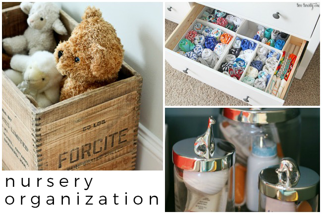 15 Nursery organization ideas with wooden boxes for stuffed animals, baskets to separate socks, and jars for baby powder