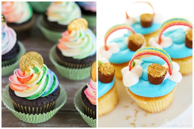 St. Patrick's day cake with gold and rainbow cupcakes and a rainbow cupcake.