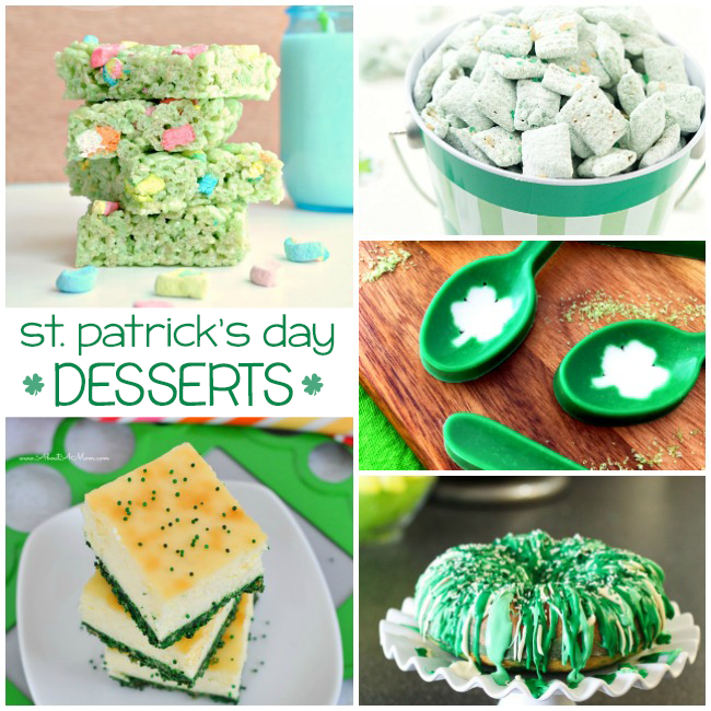 St. Patrick's day desserts that include cheesecake, rice krispie treats, puppy chow, candy spoons, and bundt cake.