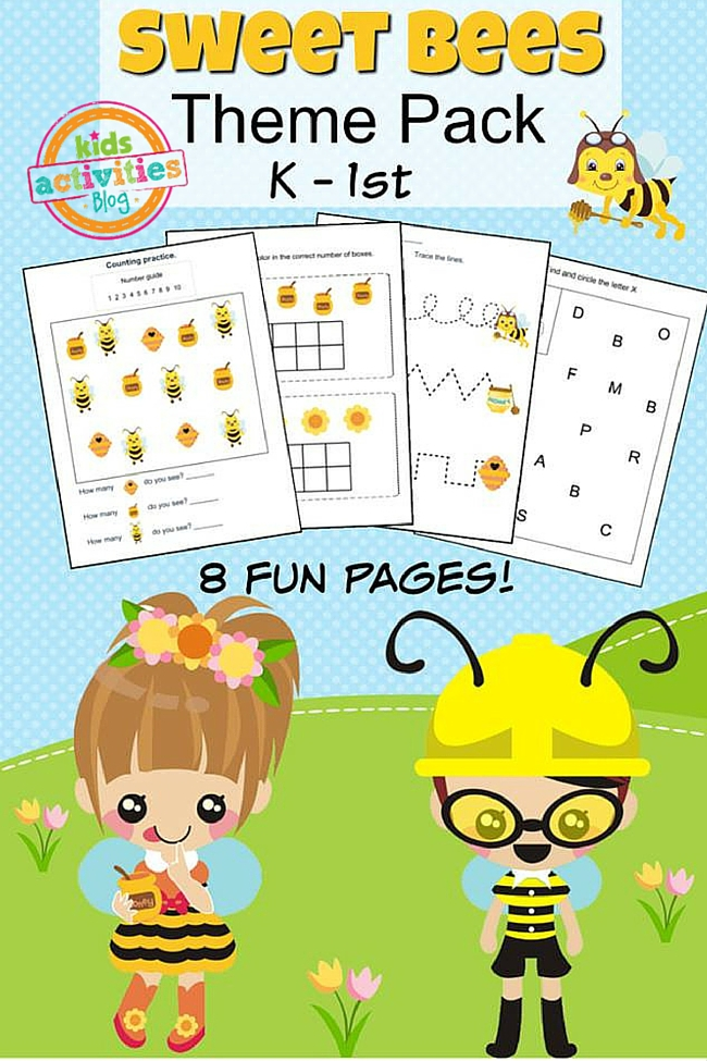 Printable Kindergarten Worksheet Theme Pack for Kindergarten through first grade with 8 fun pages to work on.