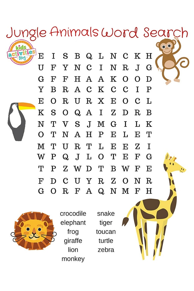jungle animals word search