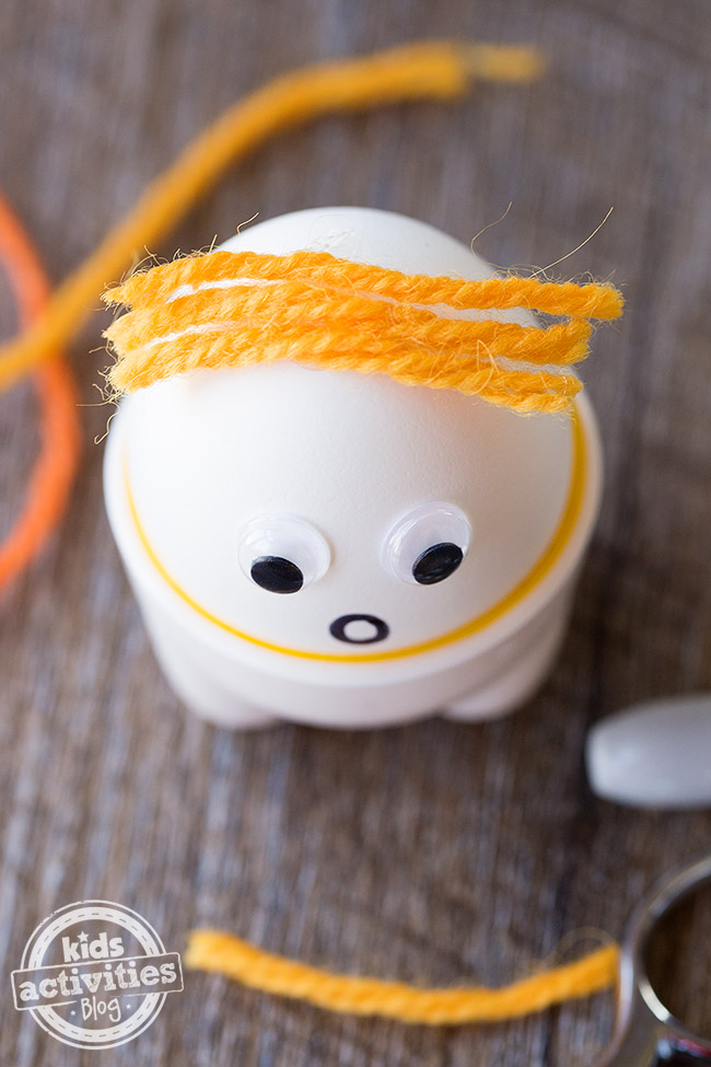 Egg Buddies with yarn hair from above