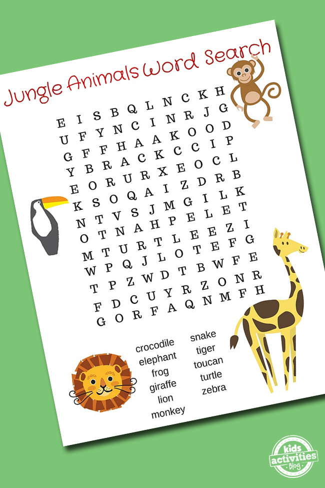 Jungle Animal Word Search Puzzle Printable