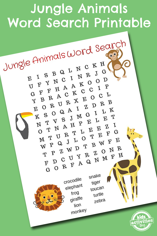 Jungle Animals Word Search pdf shown on green background word list is at bottom of search puzzle with four animals pictured