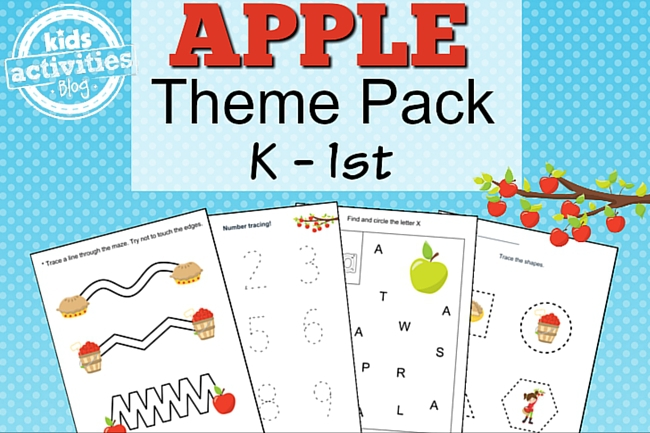 apple worksheet - themed set of 9 Kindergarten level worksheets