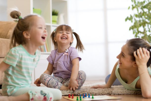 Strategies for dealing with a rough toddler - distraction, preparation and entertainment can help keep smiles on faces - girls laughing