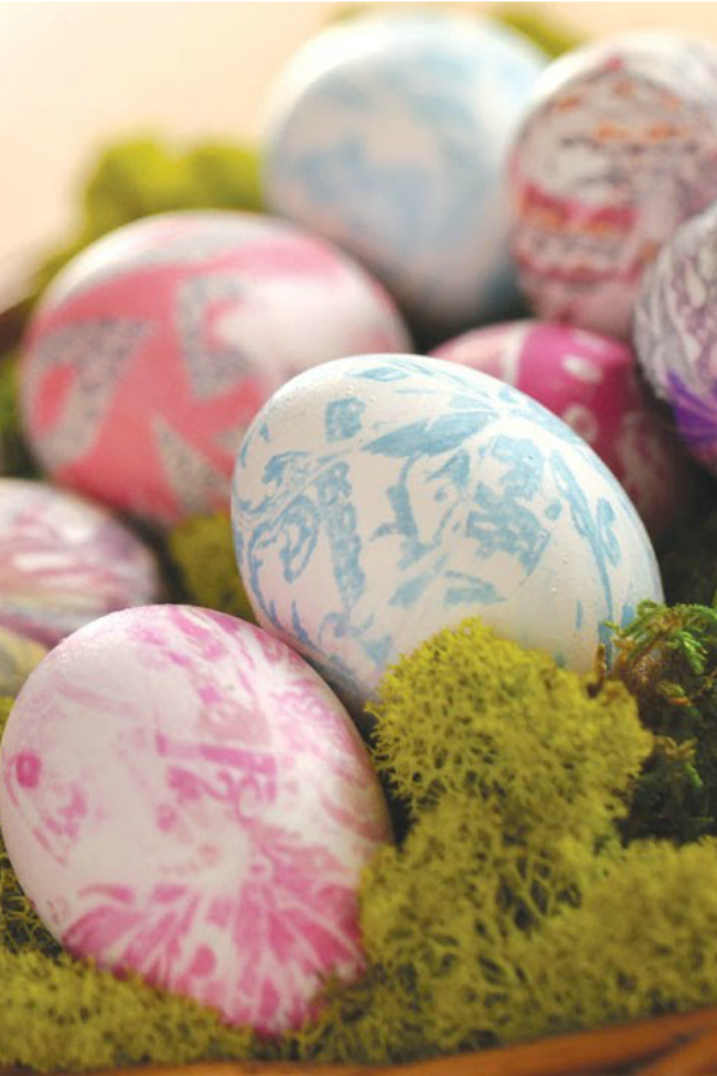 dyed easter eggs with tie