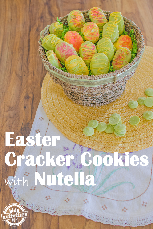 Easy Easter dessert made with crackers, nutella, dipped in green chocolate.