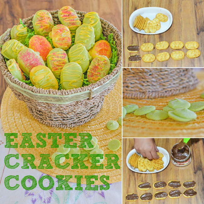 One of the easiest Easter desserts is this easter cracker cookies. Green and yellow cookies in a basket made from crackers with nutella in between them dipped in green and yellow melting chocolate.