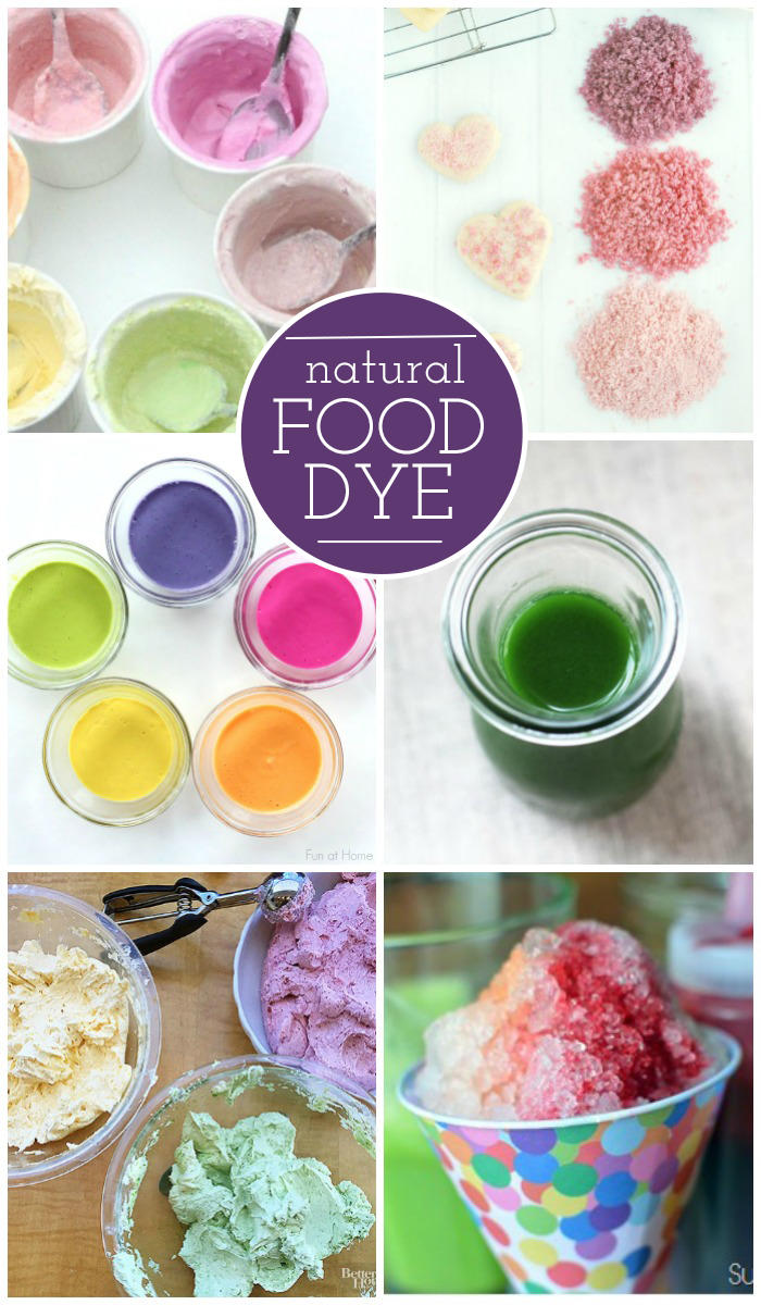 Natural food dye ideas - natural food coloring and food dye alternatives - 6 different natural dyes pictured - Kids Activities Blog