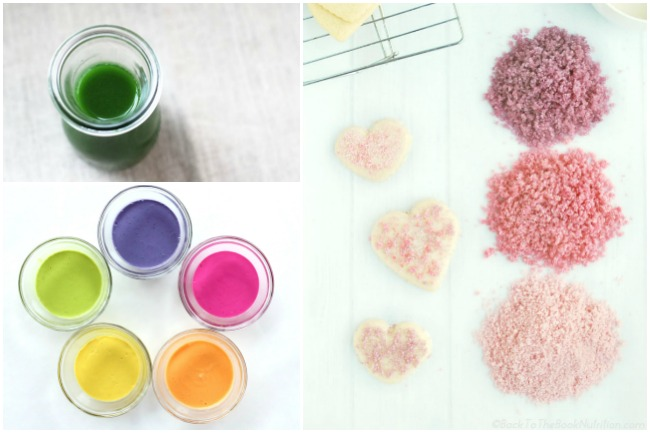 natural food dyes made of fruits and veggies uses in sugar cookies or turned into liquid dye, and finger paints.
