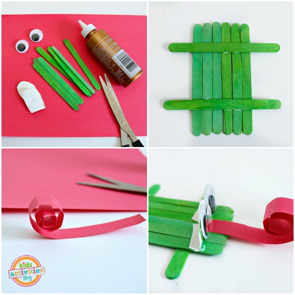 frog collage- supplies (green popsicle sticks, scissors, glue, tape, and googly eyes), glue the sticks together, curl the tongue, glue the eyes and tongue to green popsicle sticks.