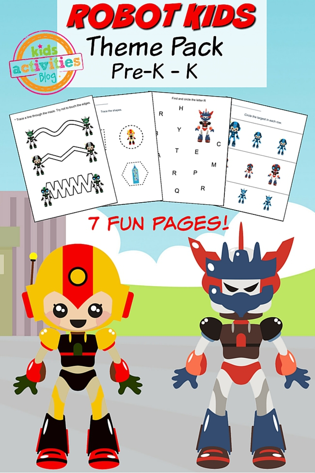 Printable Preschool Worksheet robot kids for pre-k and k.