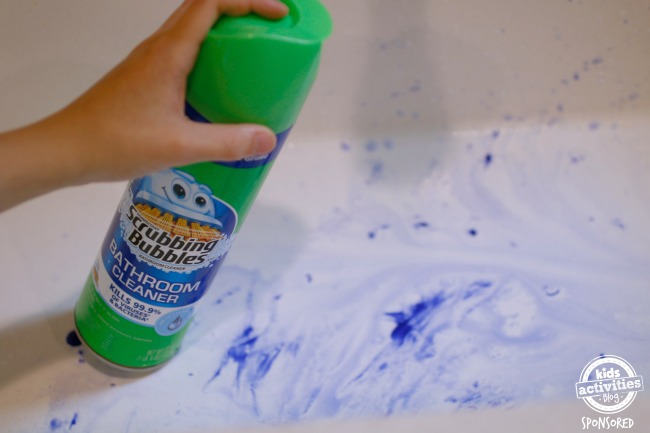 scrubbing bubbles in sink - mess cleanup