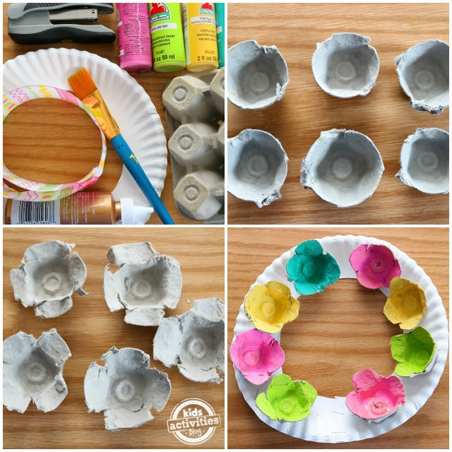 Egg Carton Flower Wreath Craft steps - 4 steps shown ending with gluing painted flowers onto paper plate ring