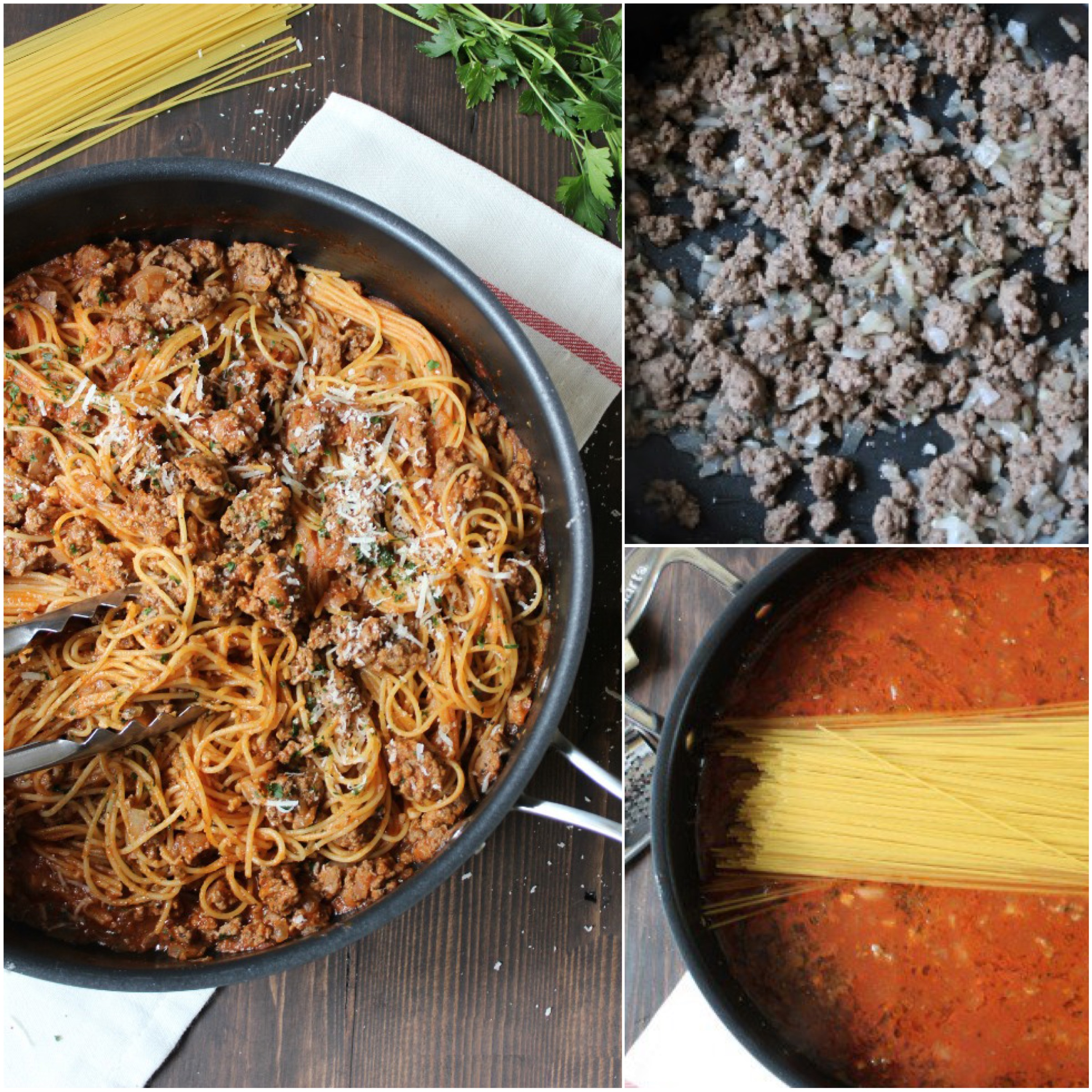 One Pan Spaghetti with Meat Sauce