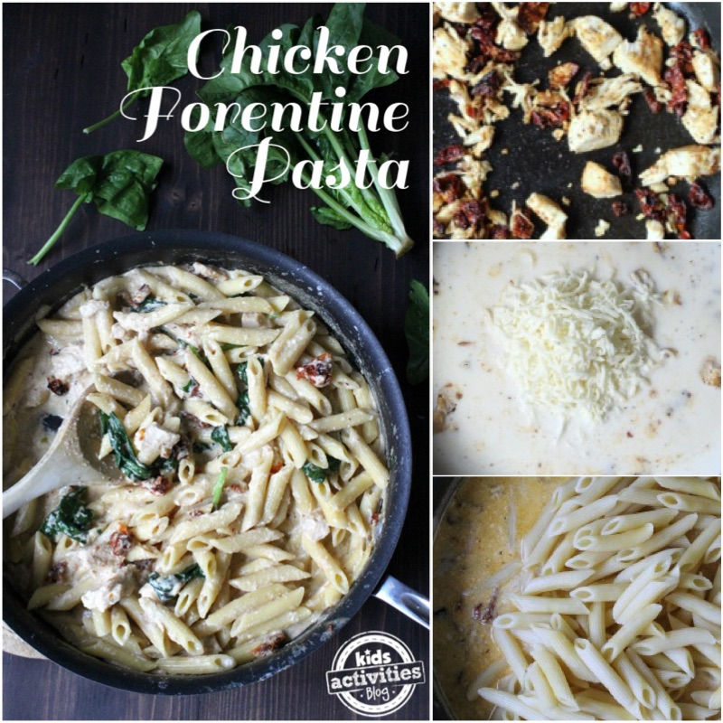 One Pan Chicken Florentine Pasta Collage