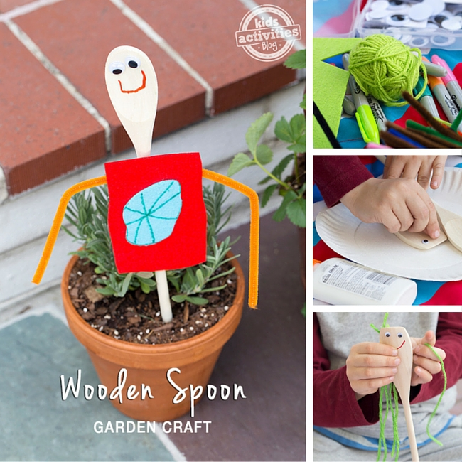 Kids will love making this Wooden Spoon Garden Craft! It's the perfect homemade gift!