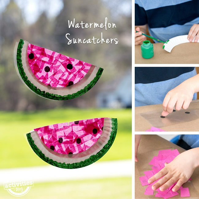 Paper Plate Watermelon Suncatcher