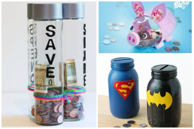 Piggy banks for kids made from recycled bottles or super hero piggy banks made from mason jars.