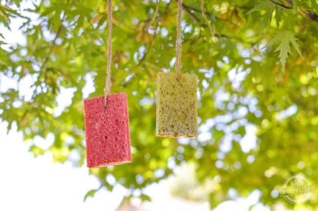 Easy Homemade Butterfly Feeders hanging from twine in the trees - two sponges one pink and one green
