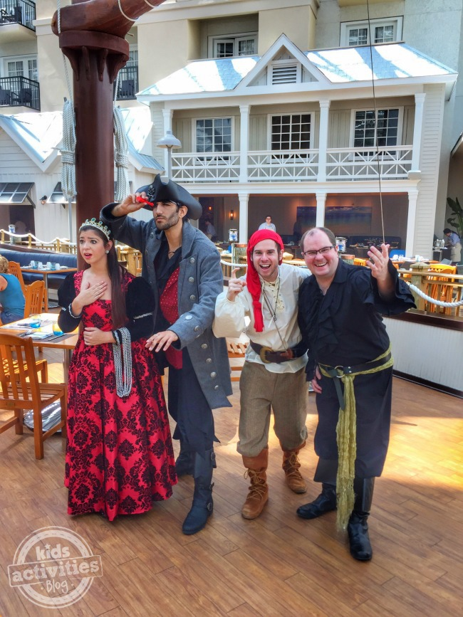 Gaylord Palms Summerfest with princesses and pirates on a deck of a pirate ship.