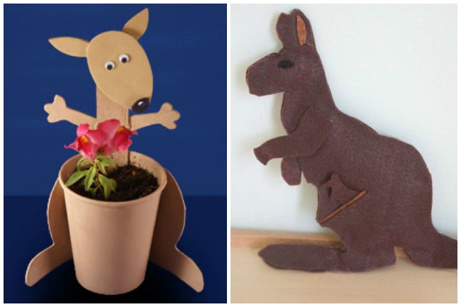 Letter K Activities Kangaroo- made with foam and a paper cup to make a flower pot and a felt kangaroo with a joey in her pouch.