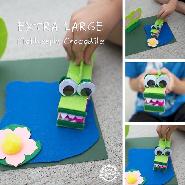 Clothespin Crocodile Craft for Kids