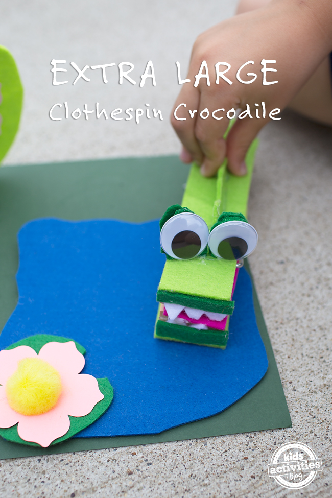 Extra Large Clothespin Crocodile Craft for Kids: A cute kid-made play set/craft!