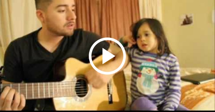 girl singing with dad