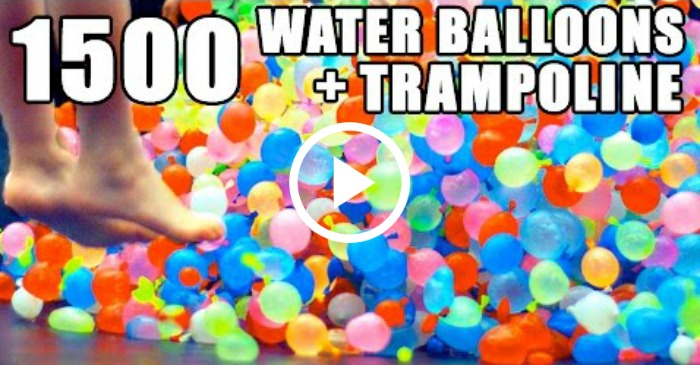 waterballoons on a trampoline