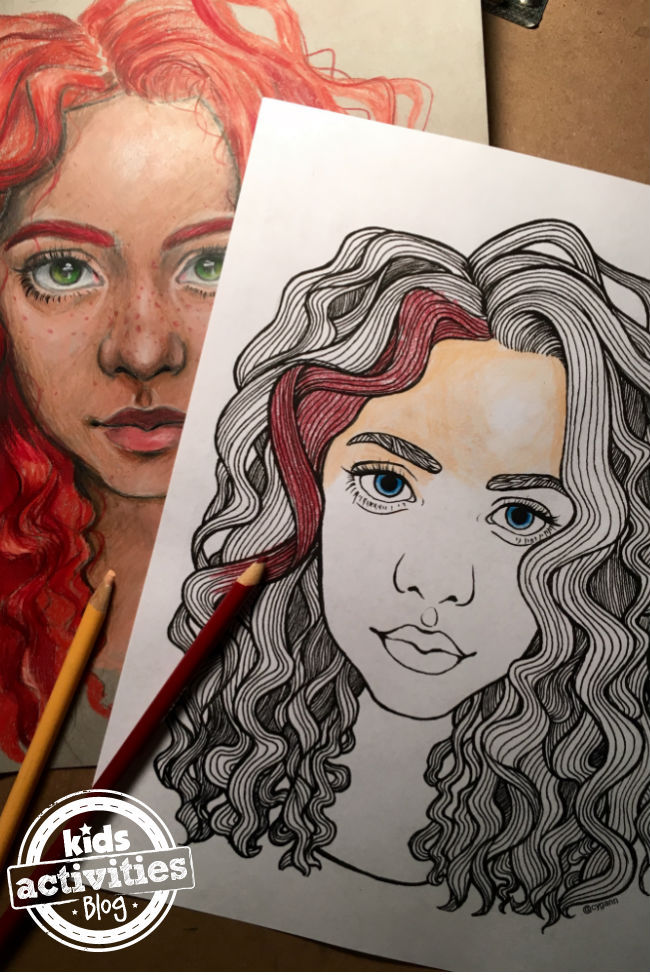 Hair and Face Coloring Pages for Kids