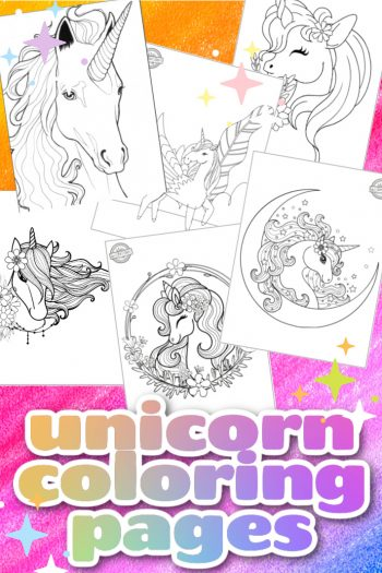 Best Unicorn Coloring Pages - Kids Activities Blog - 6 unicorn coloring pages shown as printed pdf