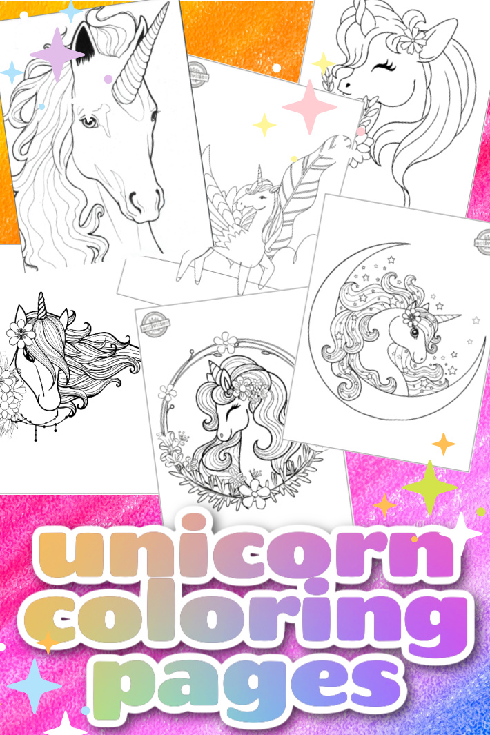 6 Magical Printable Unicorn Coloring Pages for Kids & Adults