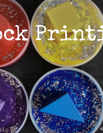 block painting with primary colors, a great process art project for preschoolers