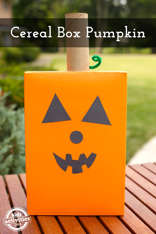 This fine-motor craft, Cereal Box Pumpkin, is perfect for toddlers and preschoolers because they get to paint, glue, cut, and more!
