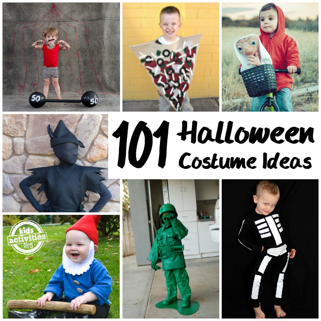 101 Halloween Costume Ideas that include supreme pizza, a garden gnome, toy soldier, strong man, ET, and a skeleton.