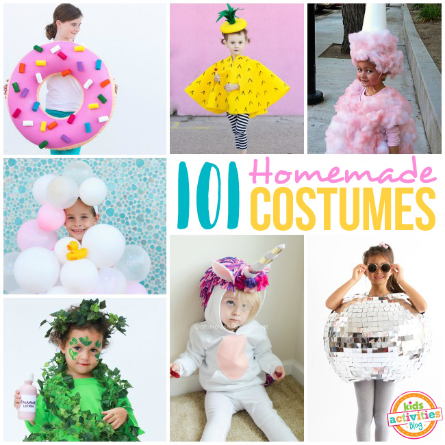 101 homemade costumes that include a pink frosted donut with rainbow sprinkles, a pineapple, pink cotton candy, bubbles, poison ivy, a unicorn with rainbow yarn hair, and a shiny disco ball.