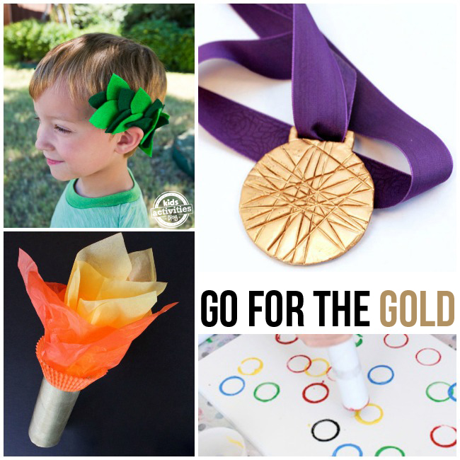 Go for the Gold - more olympic inspired crafts for kids including a laurel wreath, gold medal, olympic torch and a dot to dot activity with olympic rings