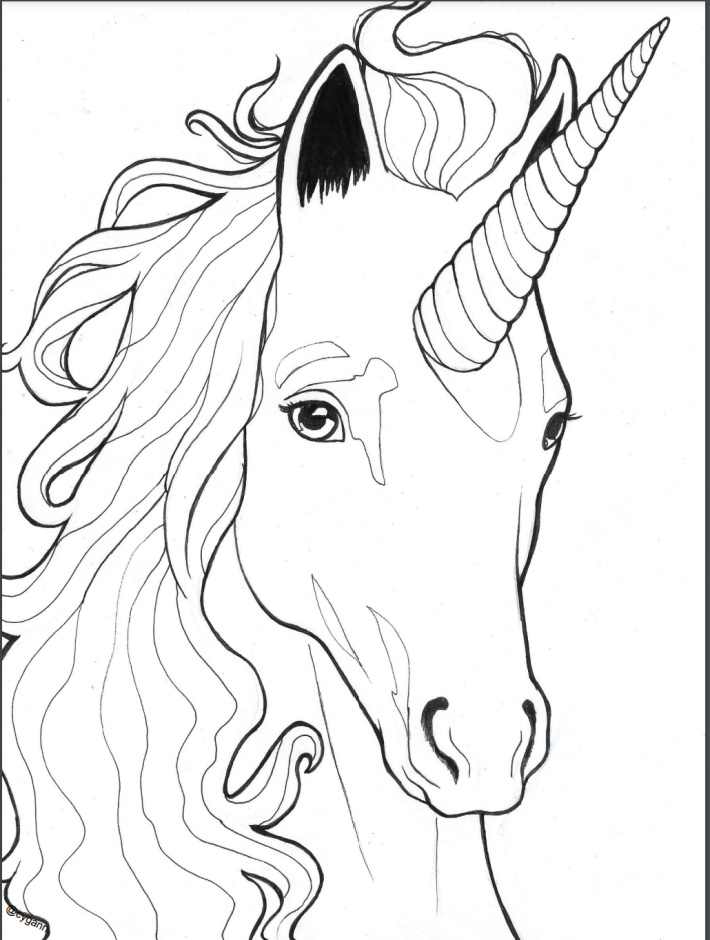 Realistic Unicorn Head Coloring Page - Kids Activities Blog - printable pdf of realistic unicorn coloring page shown