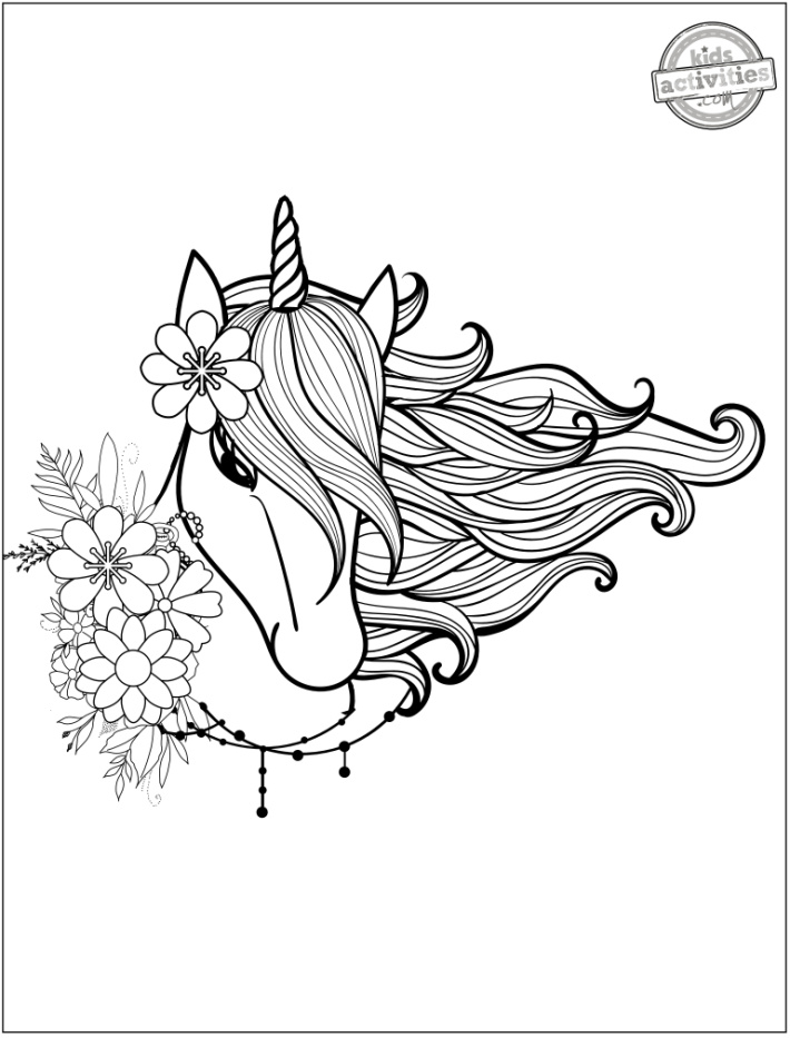 Unicorn Hair Coloring Page - Kids Activities Blog