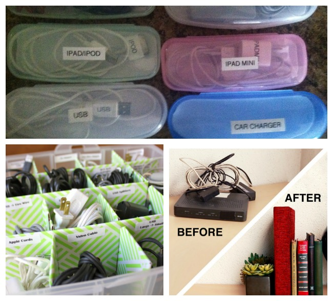 cord organization ideas include glasses case, boxes and hiding a router