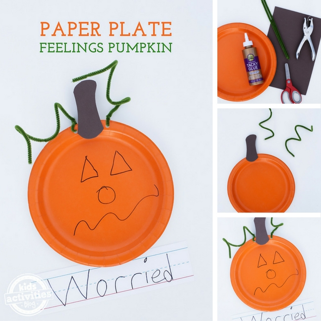 Paper Plate Feelings Pumpkin Craft collage shows all of the other images in the post, with three being consecutive steps.