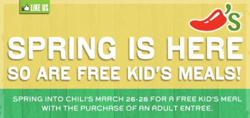 Chilis ~ Kids Eat Free Tonight With Adult Entree!