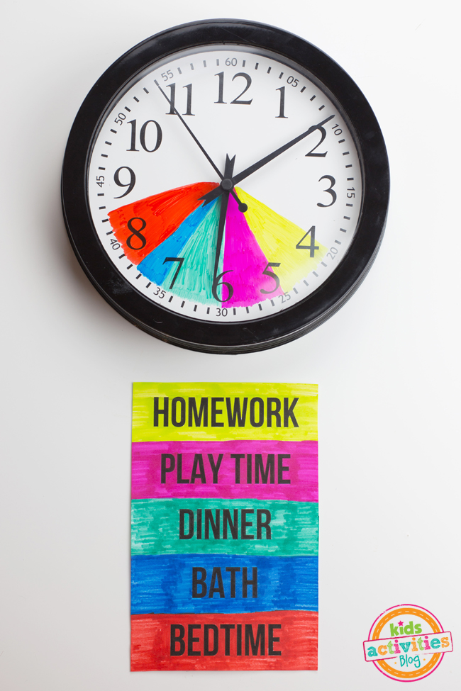 clock craft is displayed along with after school routine chart