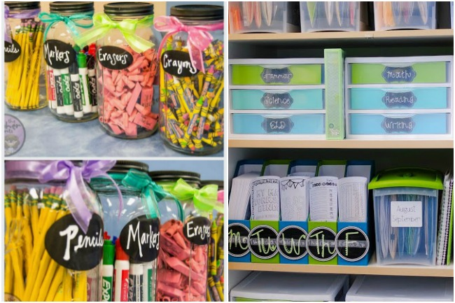 hack the class room by using mason jars to keep markers, pencils, and erasers in orders, with binders, and bins with labels.