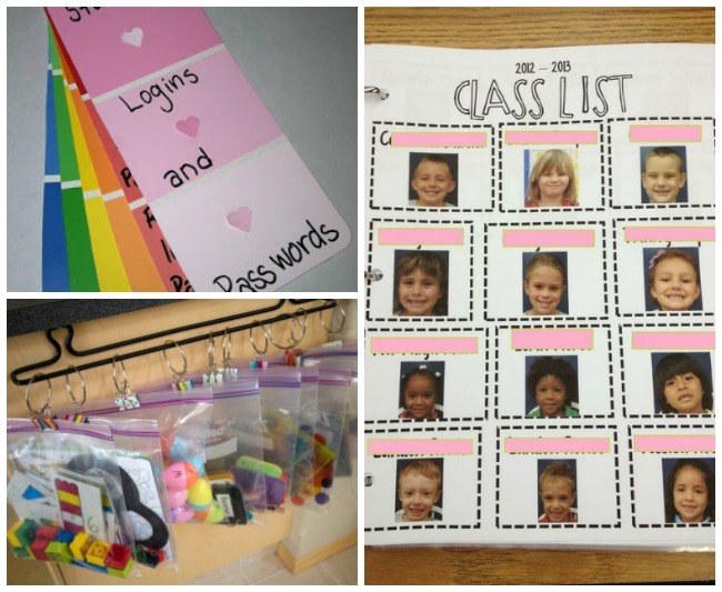 Learn names by having a pictured class list. The password organizer is great to not lose your passwords and the plastic bag with hangers keeps all the learning resources in order.