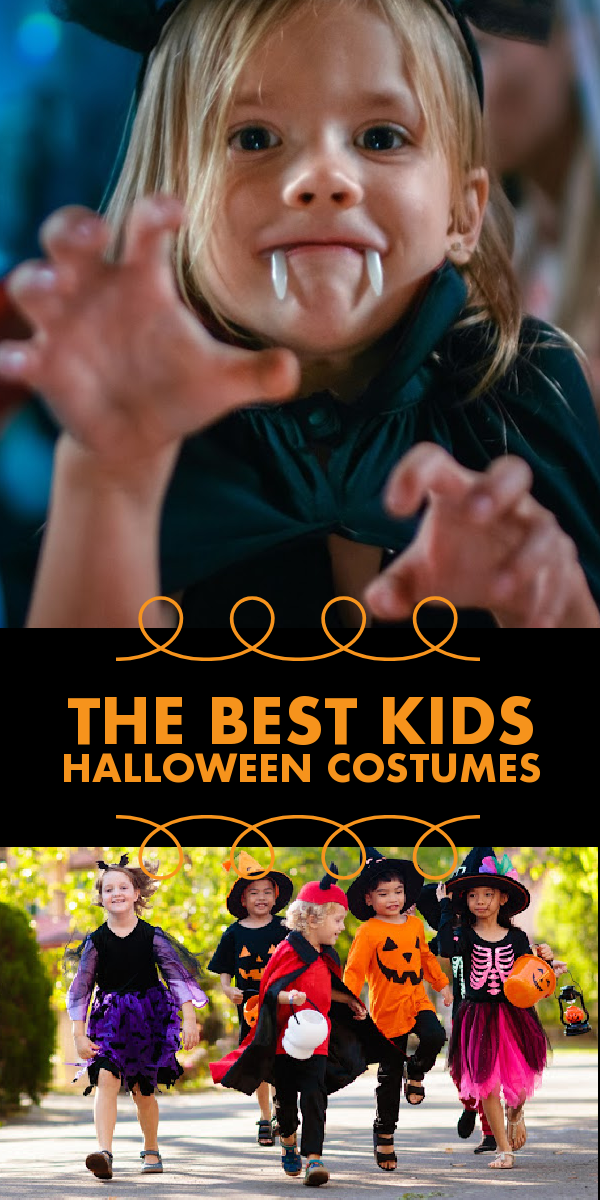 """A little girl bares her plastic fangs at the camera, as a little vampire. """"The Best Kids Halloween Costumes"""" reads in orange. Below is a picture of kids in their favorite costumes, running to trick or treat."""