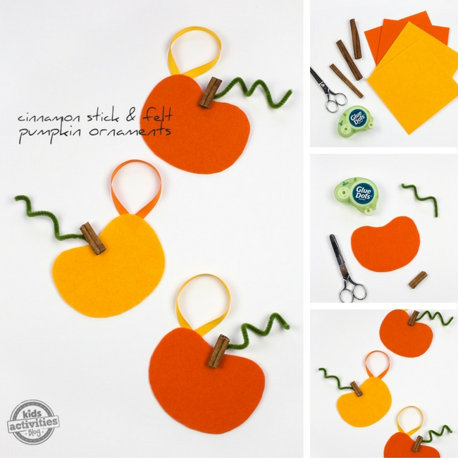 Cinnamon Stick and Felt Pumpkin Ornaments