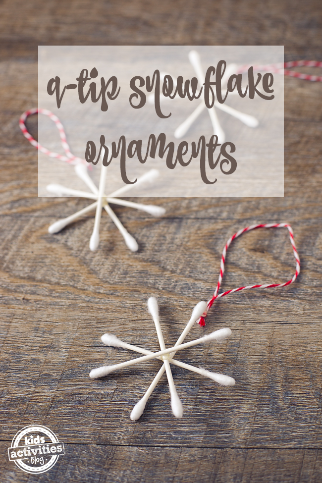 Q Tip Snowflakes - three shown made into cute Christmas ornaments for a tree